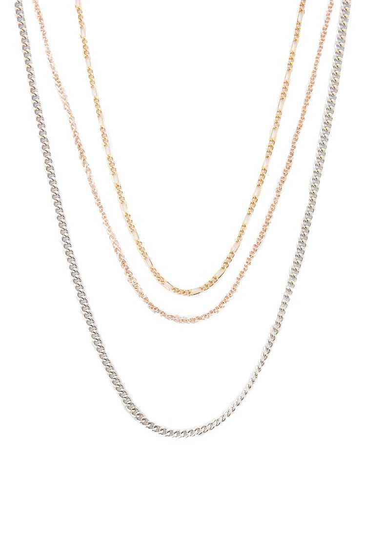 Forever21Women's Mixed Metal Necklace Set - Gold/Silver UK - GOOFASH
