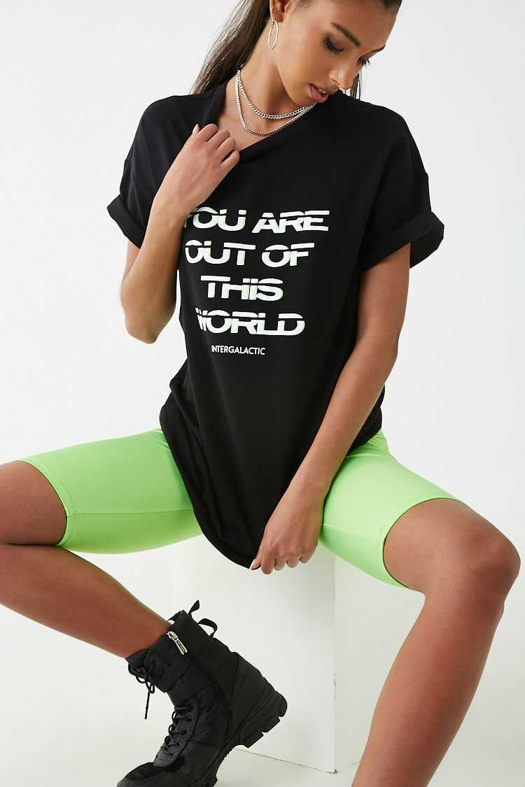 Forever21Women's Out Of This World Graphic Tee Shirt - Black/White UK - GOOFASH