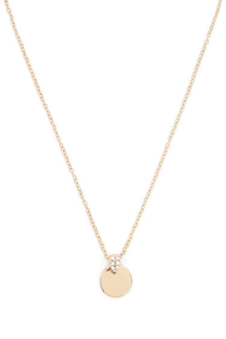 Forever21Women's Pendant Disc Necklace - Gold/Clear UK - GOOFASH