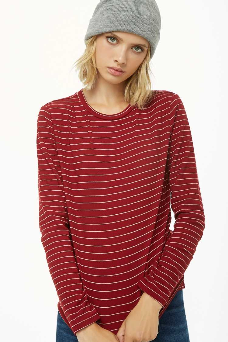 Forever21Women's Pinstriped Ribbed Knit Top - Burgundy/Cream UK - GOOFASH