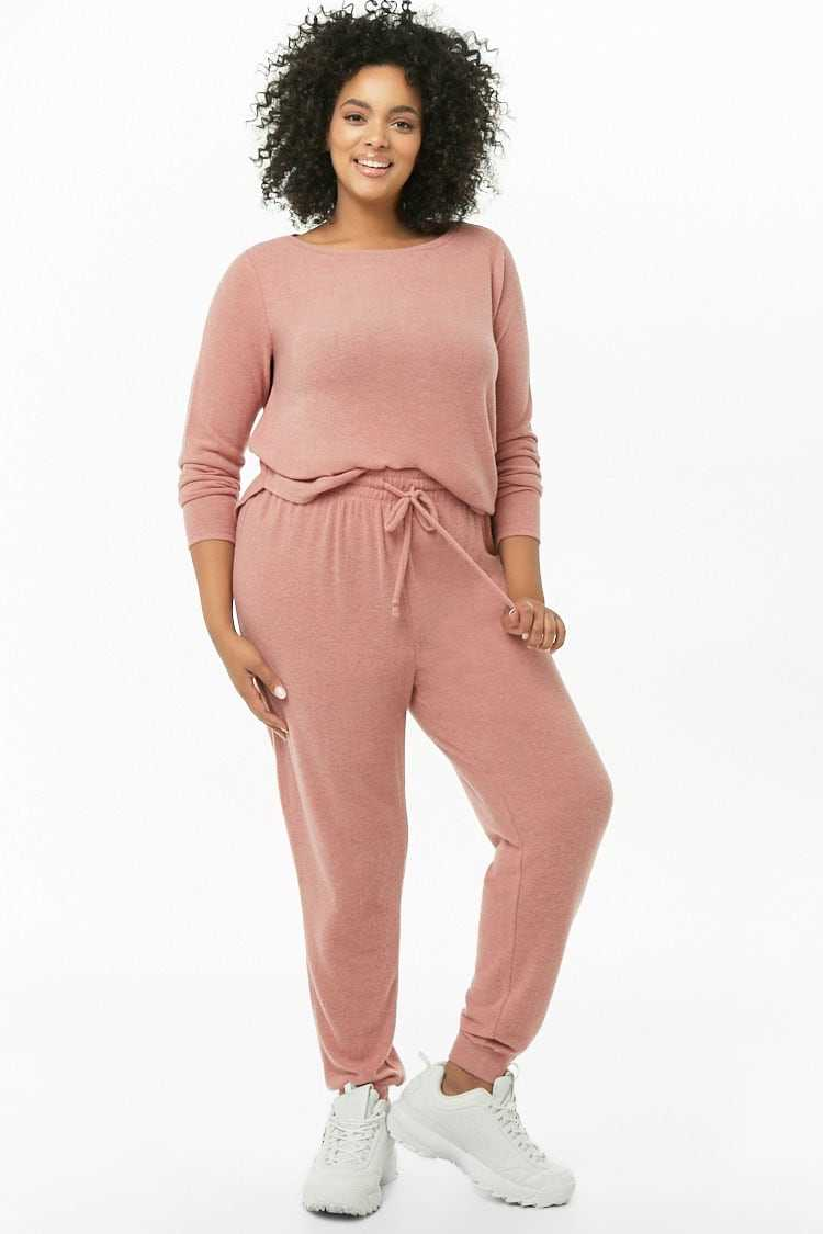 Forever21Women's Plus Size Brushed Knit Top & Jogger Pants Set - Mauve UK - GOOFASH