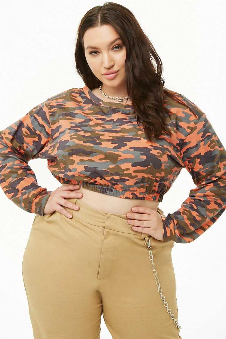 Forever21Women's Plus Size Camo Crop Top - Coral UK - GOOFASH