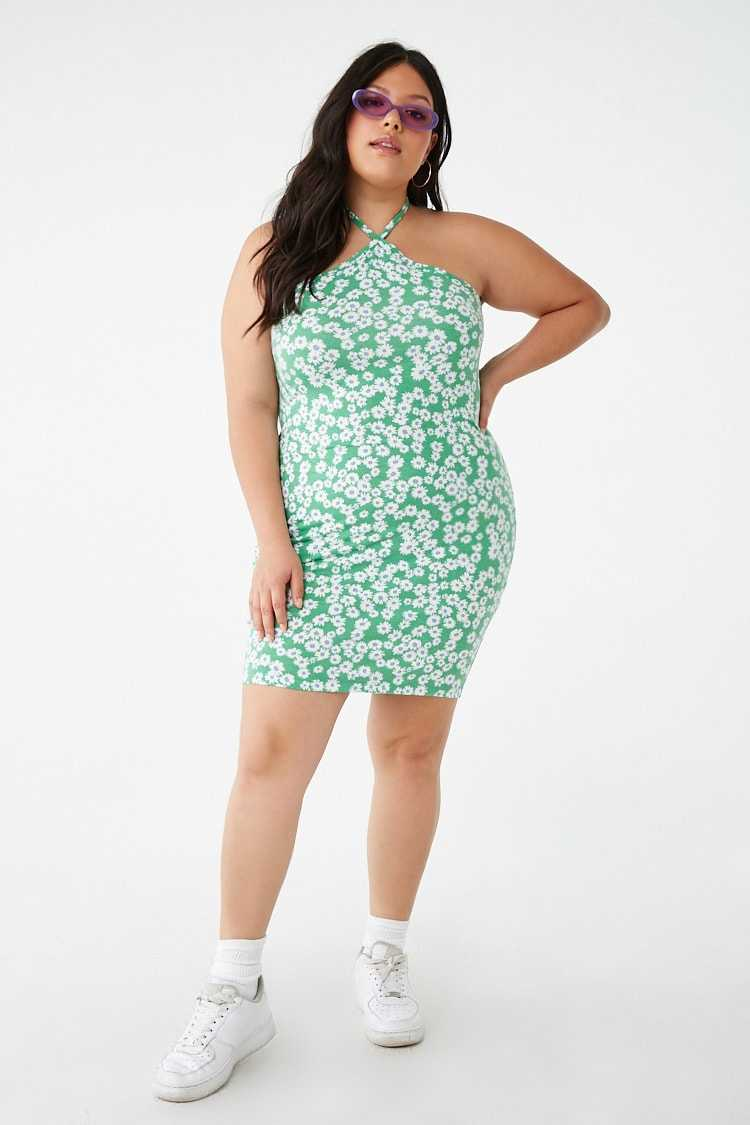 Forever21Women's Plus Size Daisy Print Halter Dress - Green/Multi UK - GOOFASH