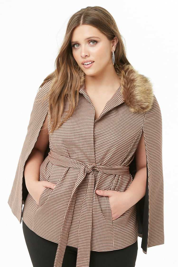 Forever21Women's Plus Size Houndstooth Cape Jacket - Brown/Cream UK - GOOFASH
