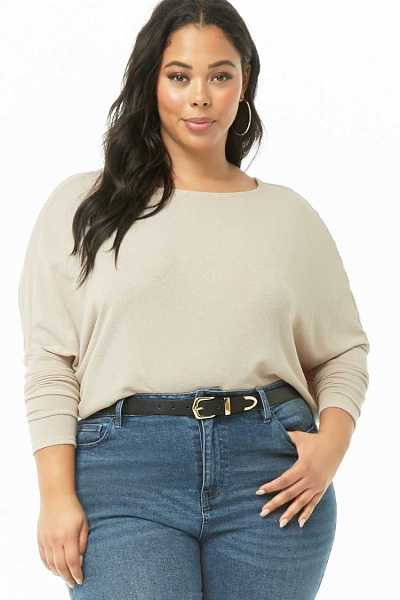 Forever21Women's Plus Size Off-Shoulder Knit Top - Taupe UK - GOOFASH