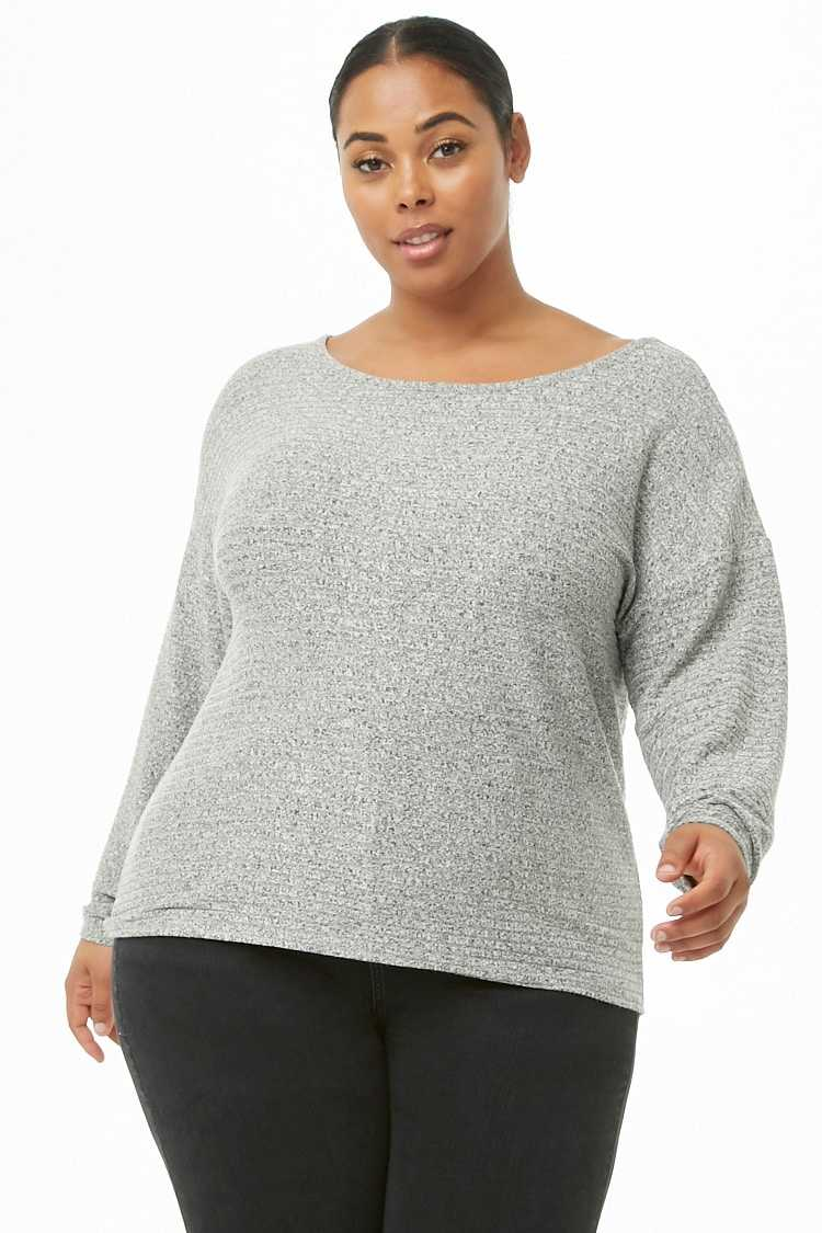 Forever21Women's Plus Size Ribbed Knit Top - Heather Grey UK - GOOFASH