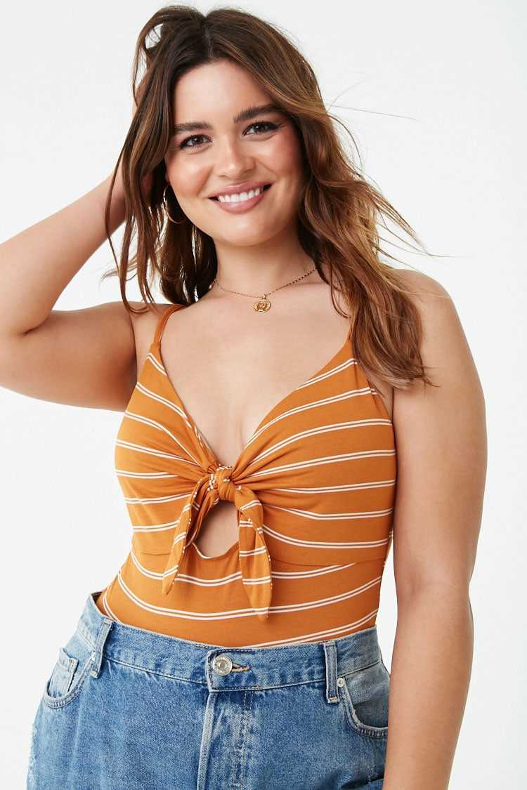 Forever21Women's Plus Size Striped Bodysuit - Mustard/White UK - GOOFASH