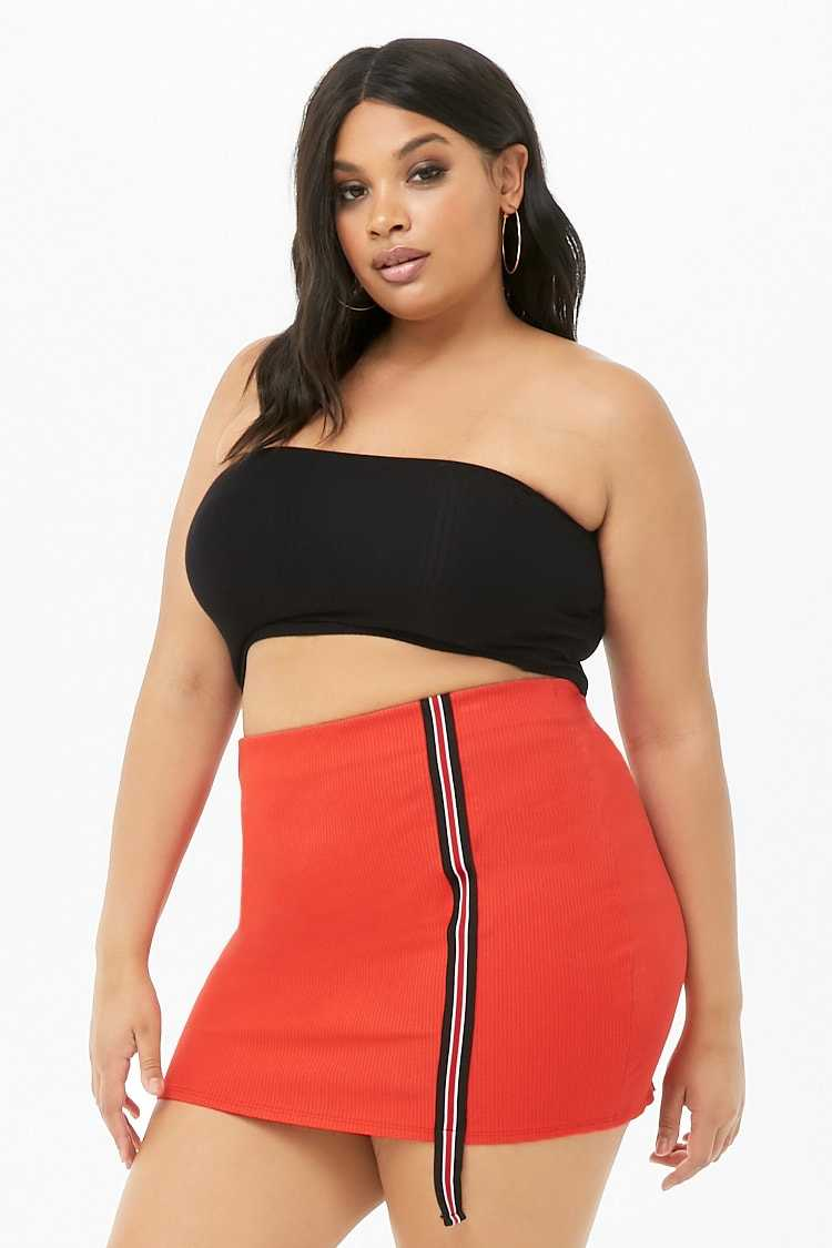 Forever21Women's Plus Size Striped Trim Mini Skirt - Red UK - GOOFASH