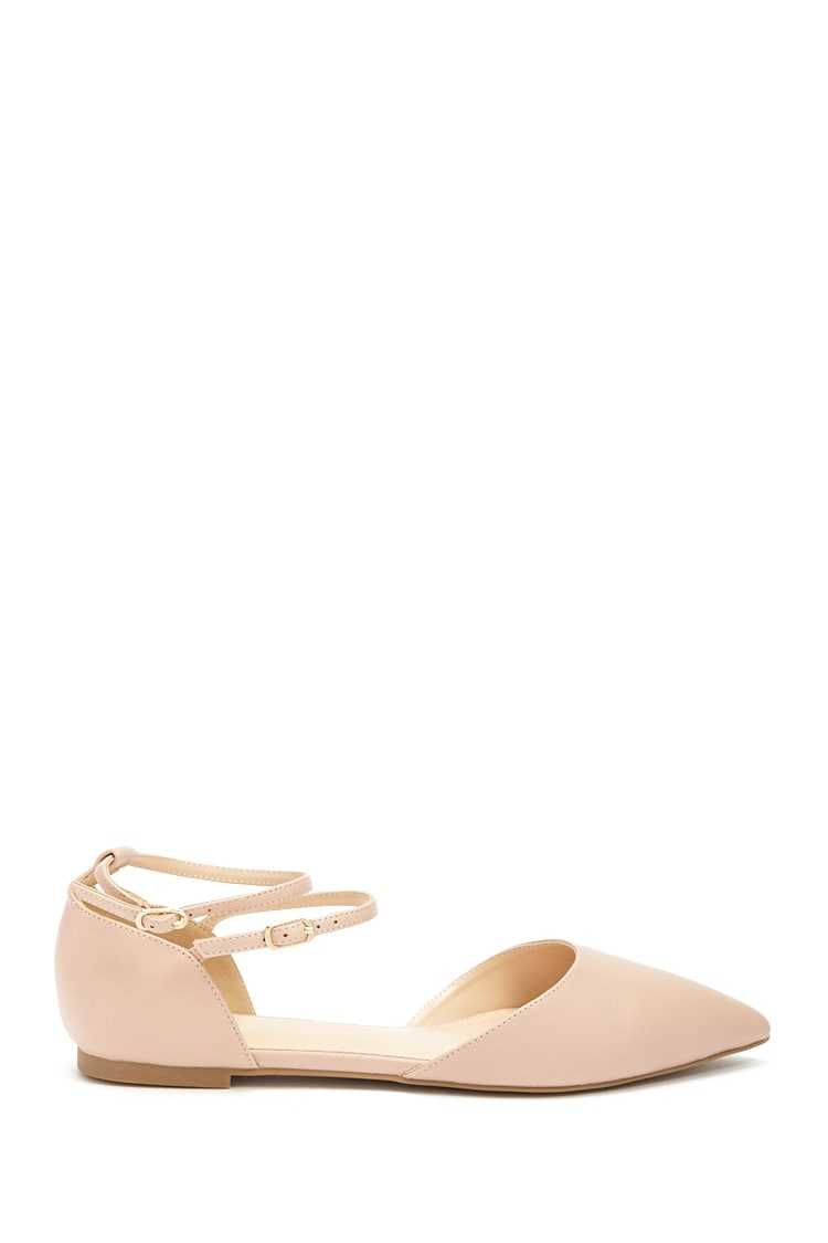 Forever21Women's Pointed Faux Leather Ankle-Strap Flats - Blush UK - GOOFASH