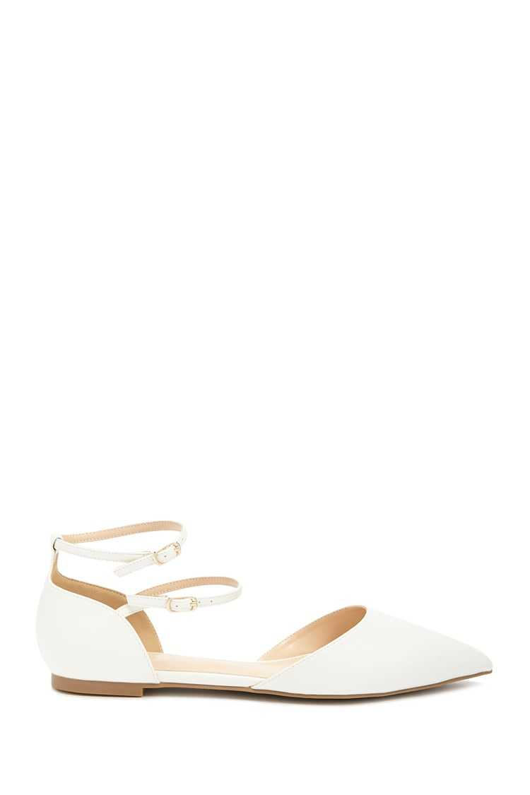 Forever21Women's Pointed Faux Leather Ankle-Strap Flats - White UK - GOOFASH