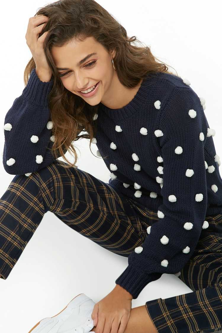 Forever21Women's Pom Pom Ribbed Knit Sweater - Navy/Cream UK - GOOFASH