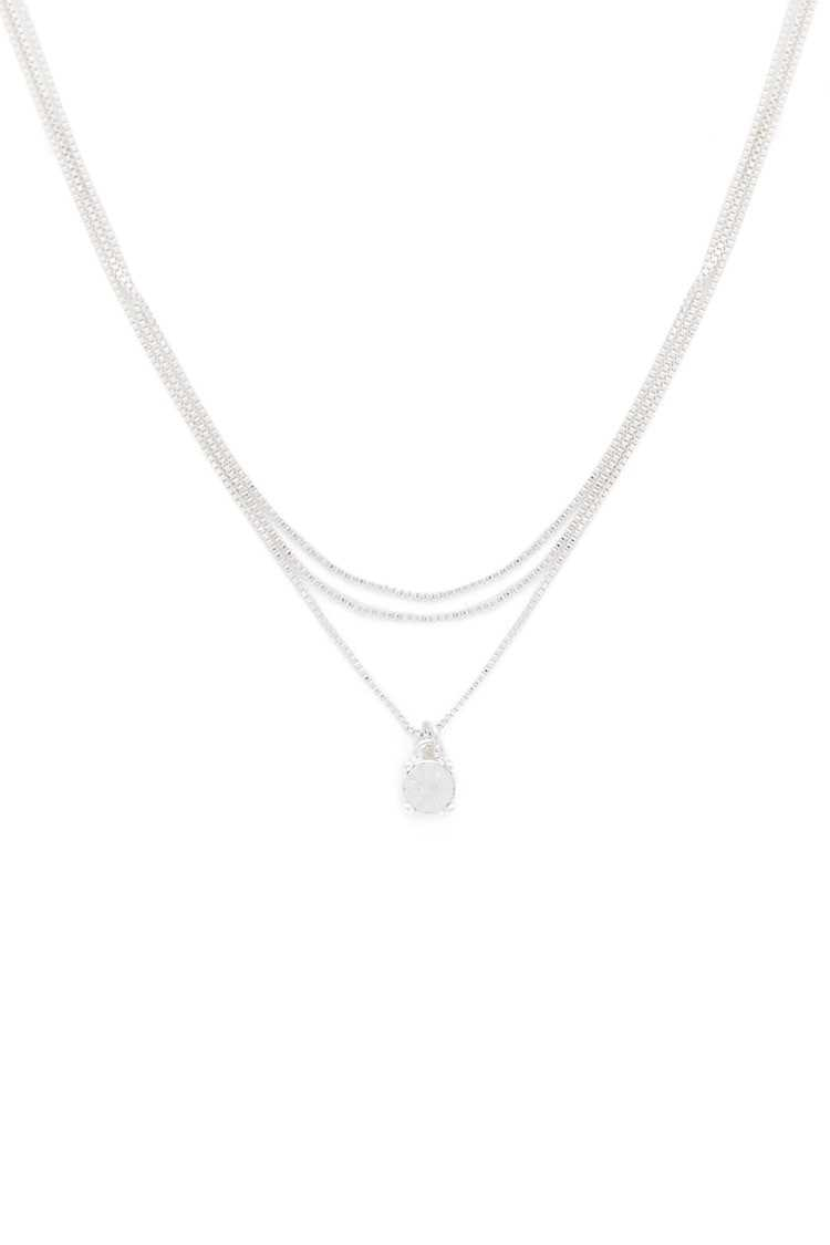Forever21Women's Rhinestone Charm Layered Necklace - Silver/Clear UK - GOOFASH