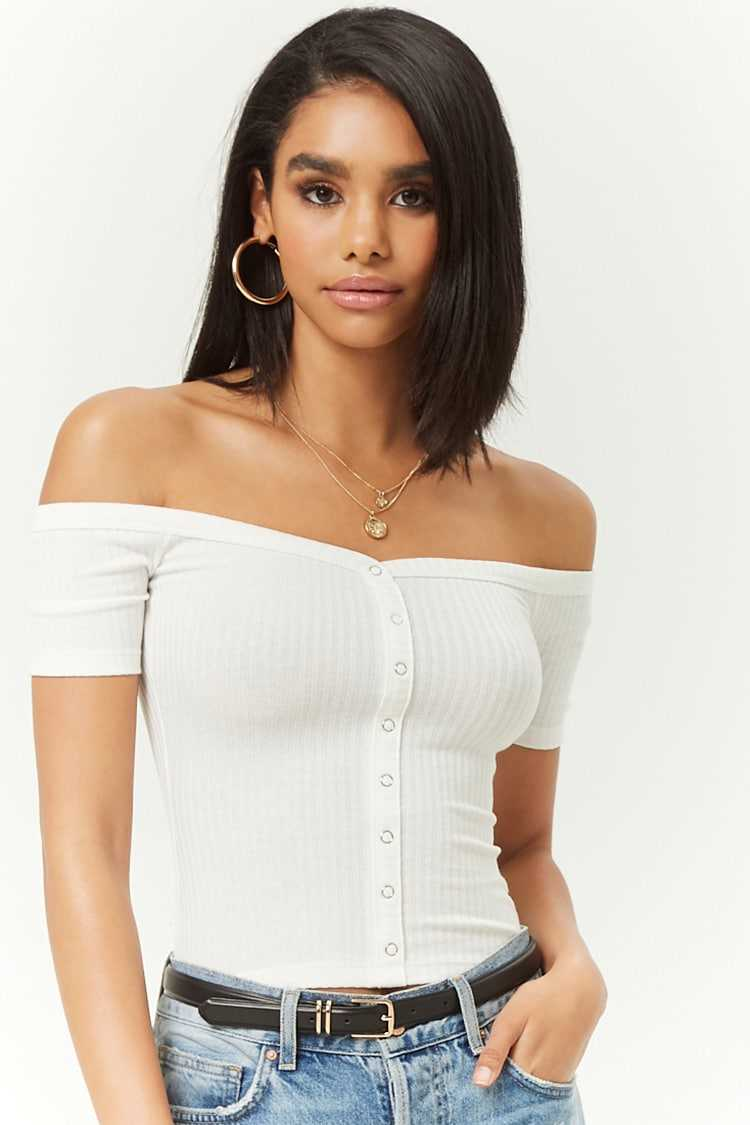 Forever21Women's Ribbed Knit Off-the-Shoulder Top - Ivory UK - GOOFASH