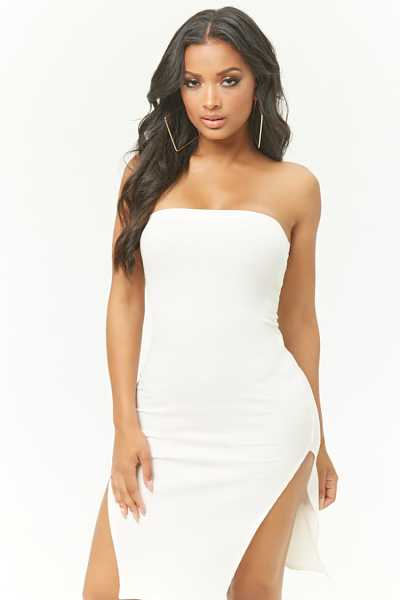 Forever21Women's Ribbed M-Slit Tube Dress - White UK - GOOFASH