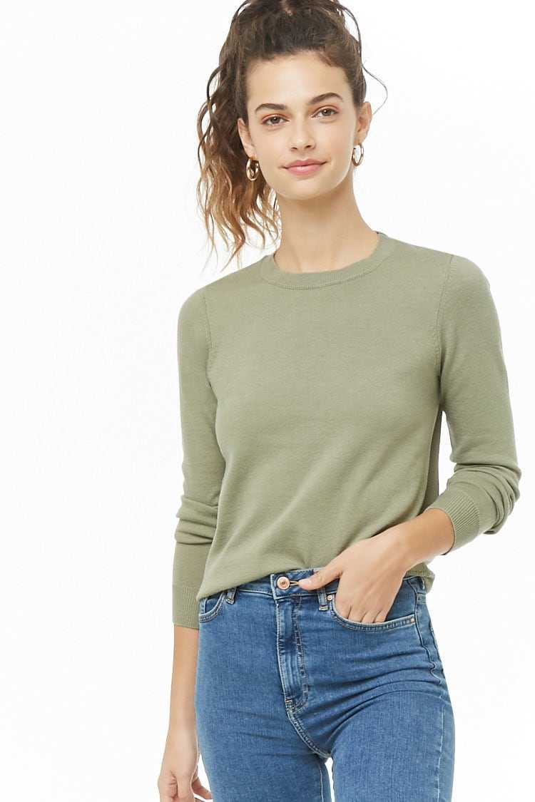 Forever21Women's Ribbed-Trim Knit Sweater - Sage UK - GOOFASH