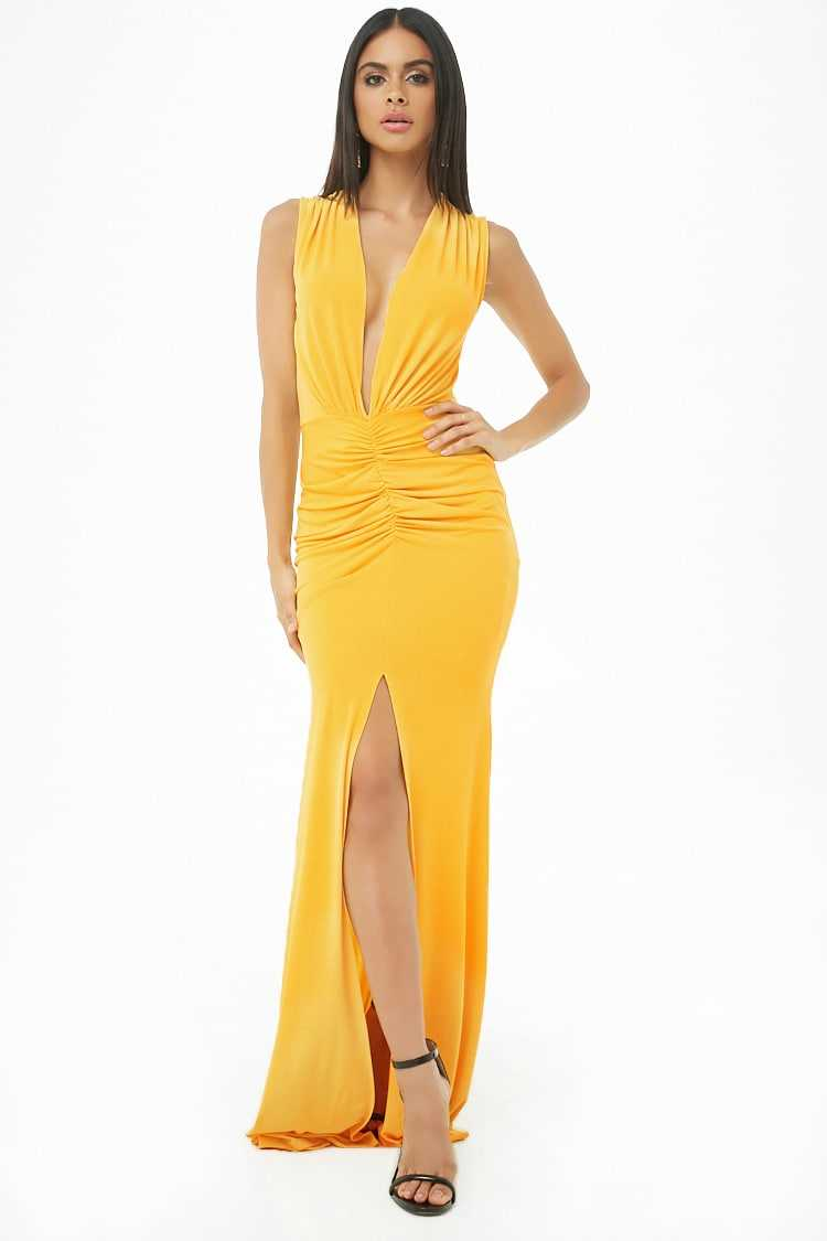Forever21Women's Ruched Plunging Maxi Dress - Mustard UK - GOOFASH