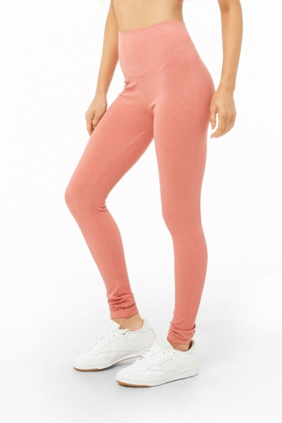Forever21Women's Seamless Ribbed Leggings - Mauve UK - GOOFASH