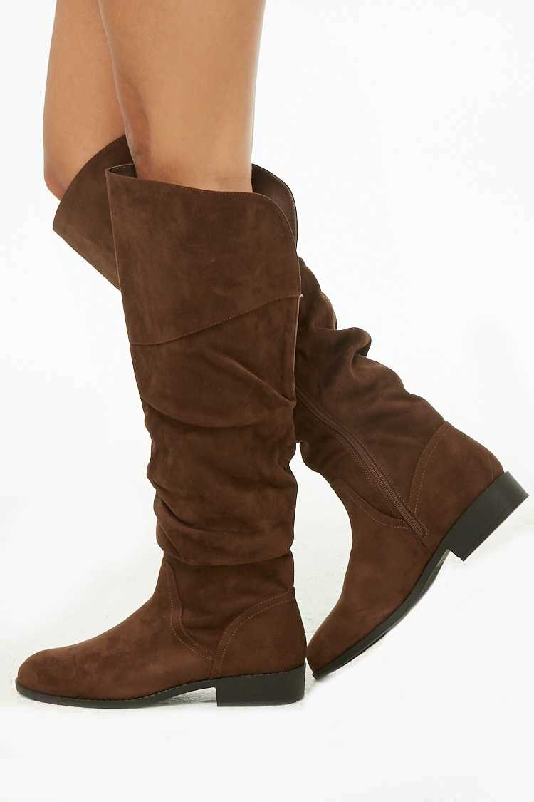 Forever21Women's Slouchy Faux Suede Boots - Chocolate UK - GOOFASH
