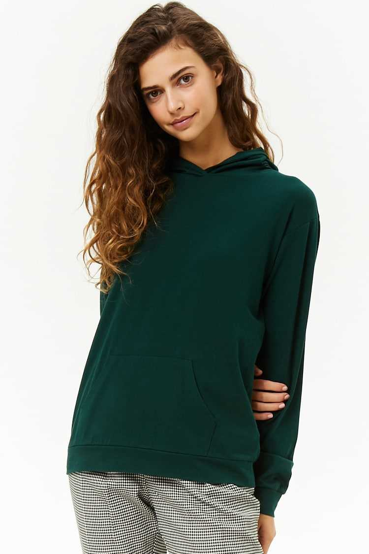 Forever21Women's Slub Knit Hooded Top - Hunter Green UK - GOOFASH