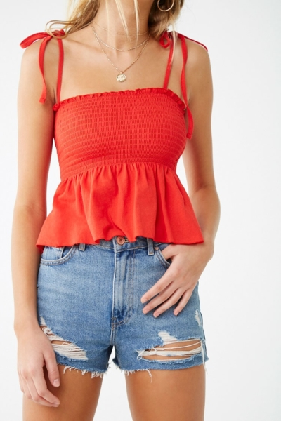 Forever21Women's Smocked Flounce Top - Cayenne UK - GOOFASH