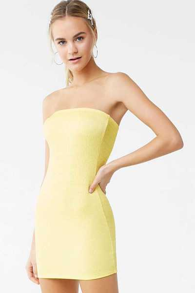 Forever21Women's Smocked Tube Mini Dress - Yellow UK - GOOFASH