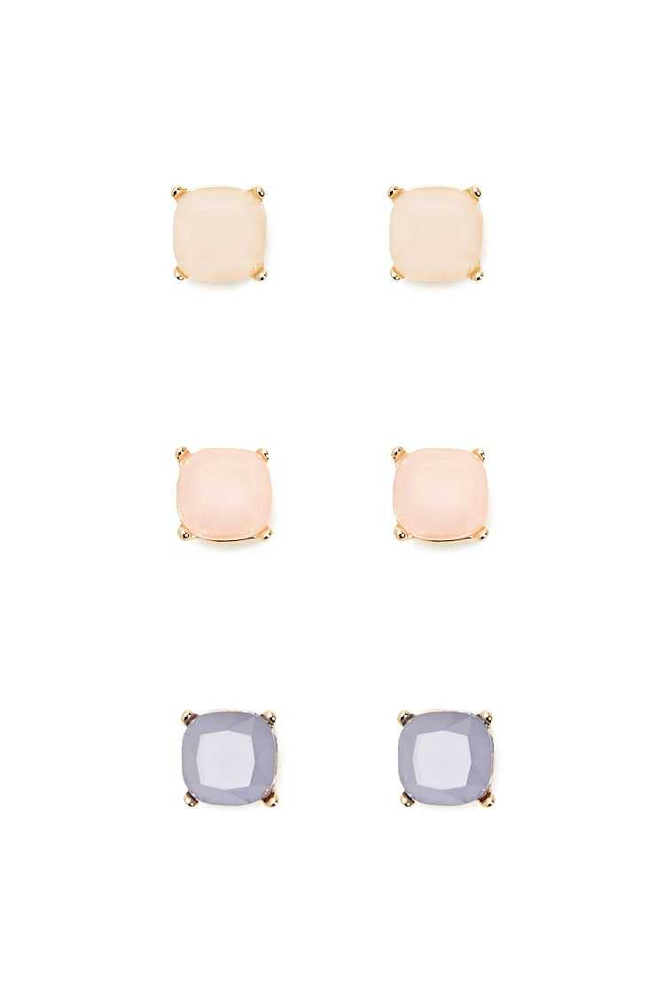 Forever21Women's Square Gem Earrings Set - Light Pink/Purple UK - GOOFASH