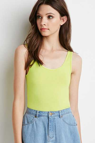 Forever21Women's Stretch Knit Tank Top - Lime UK - GOOFASH