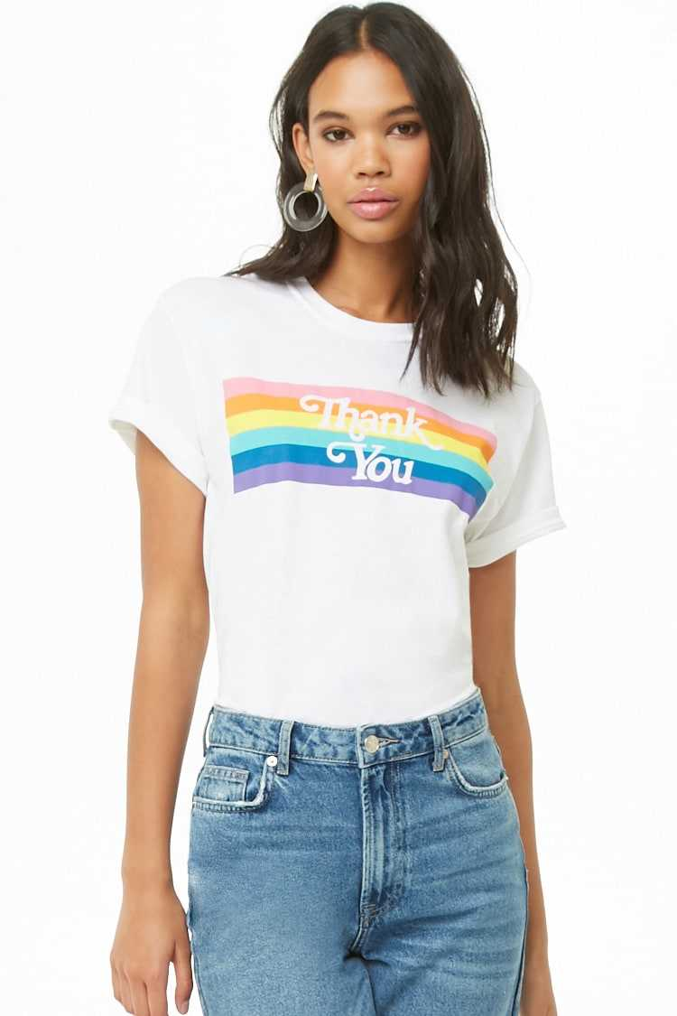Forever21Women's The Style Club Thank You Graphic Tee Shirt - White UK - GOOFASH