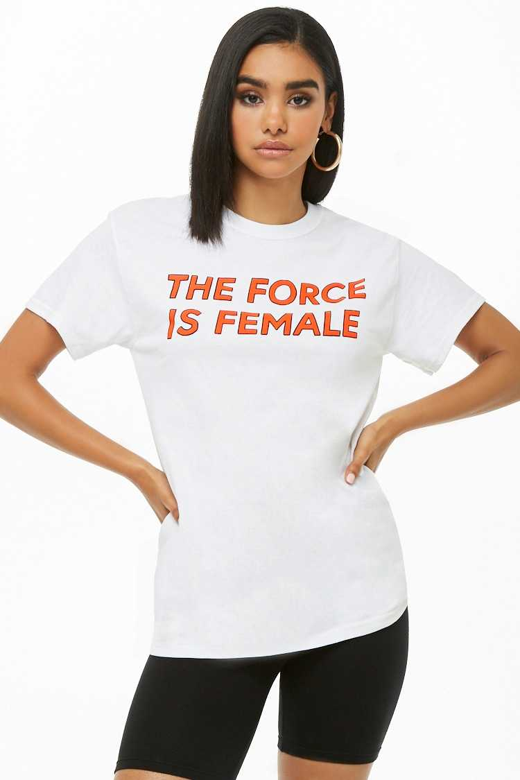 Forever21Women's The Style Club The Force is Female Graphic Tee Shirt - White UK - GOOFASH