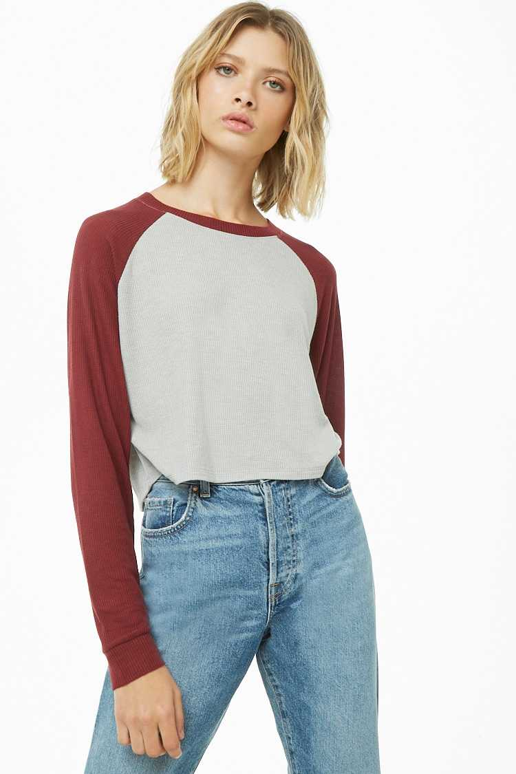 Forever21Women's Waffle Knit Raglan Top - Grey/Burgundy UK - GOOFASH