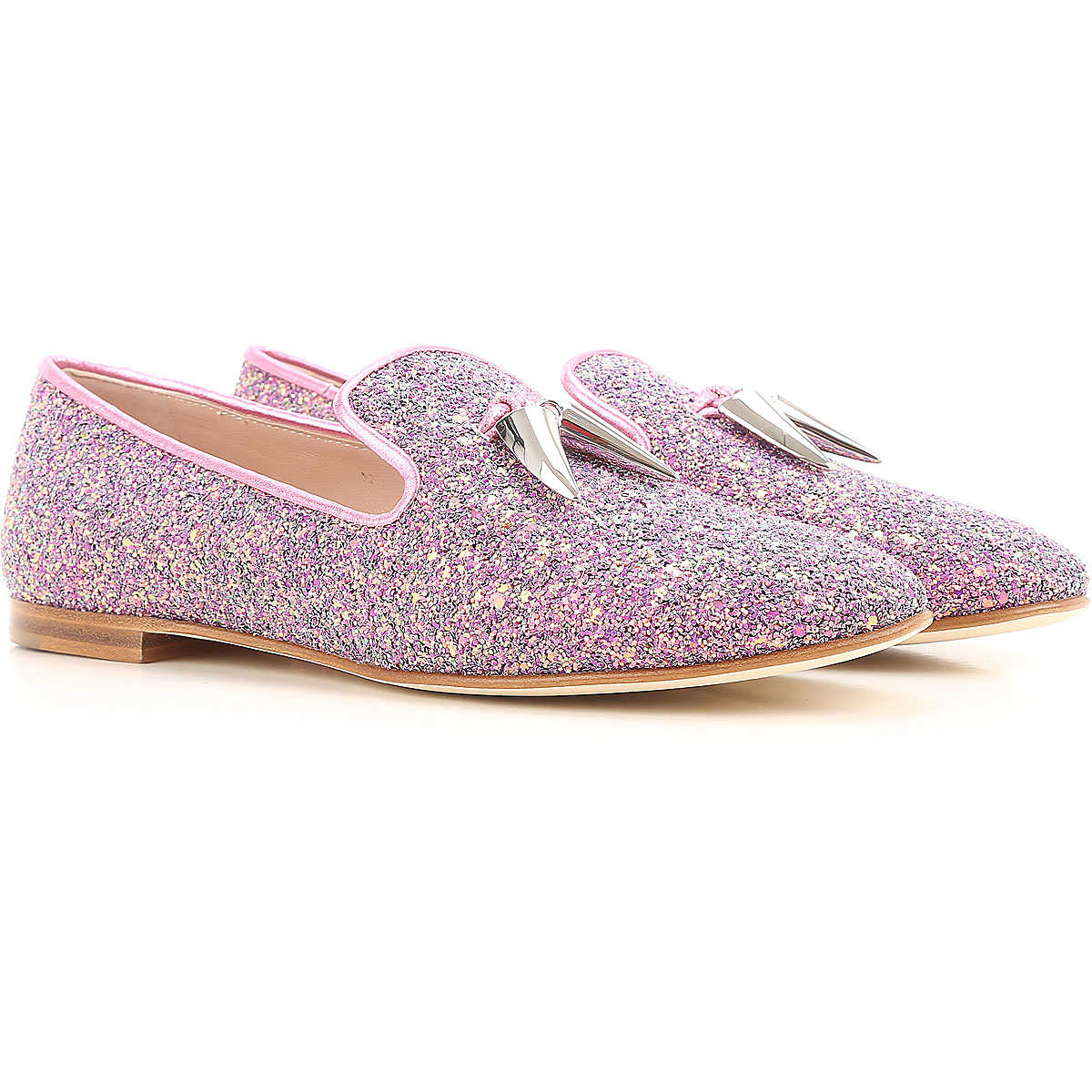 Giuseppe Zanotti Design Loafers for Women On Sale in Outlet Glitter Pink - GOOFASH