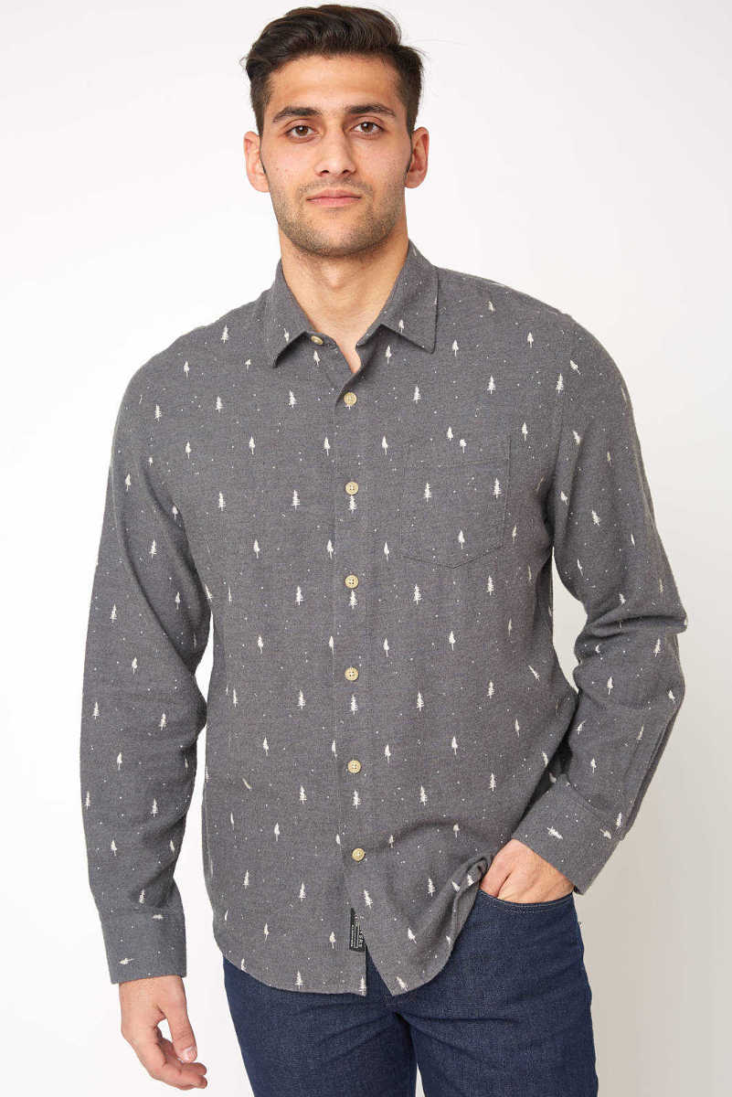 Grayers Dartmouth Printed Heather Flannel Button Down Shirt Charcoal M USA - GOOFASH