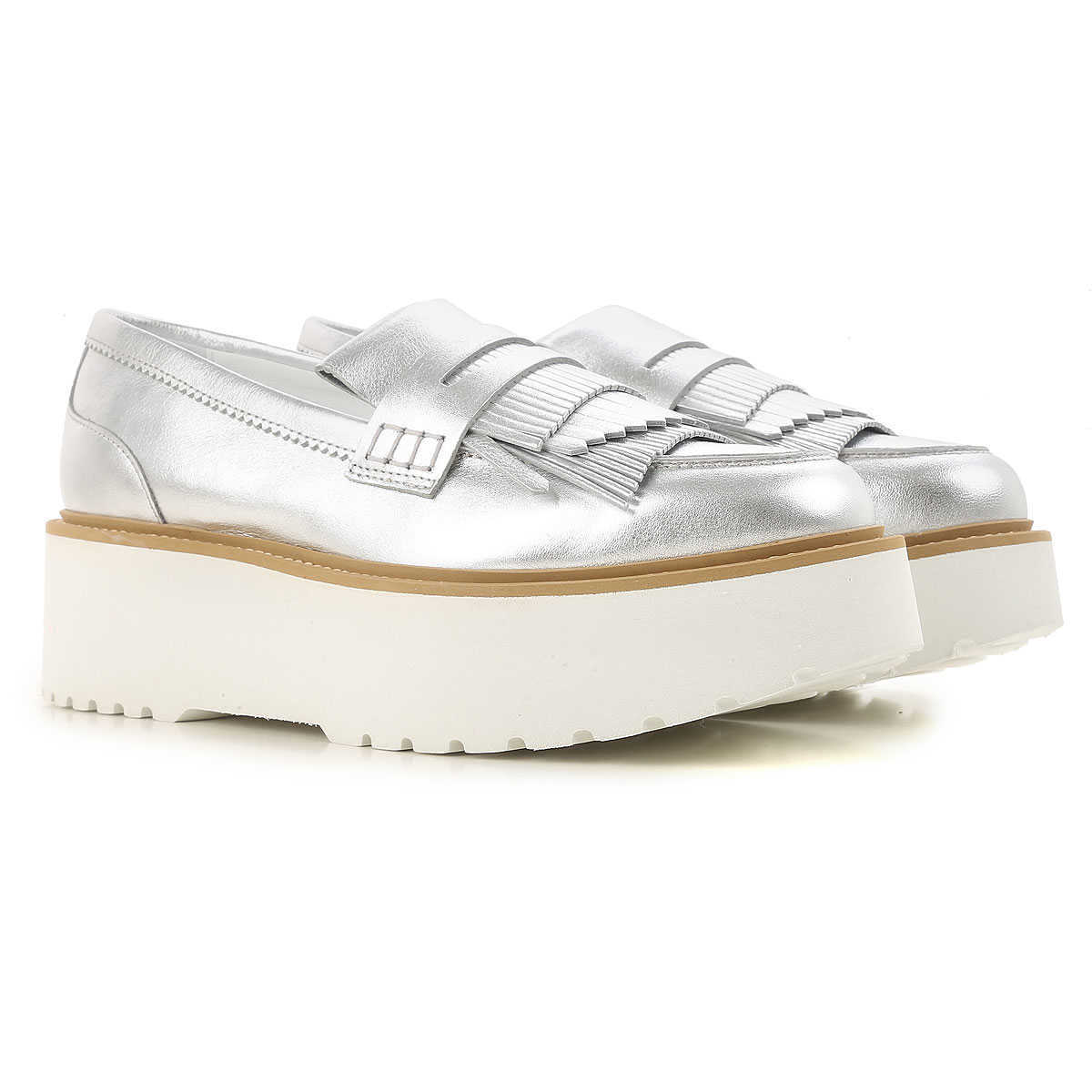 Hogan Loafers for Women On Sale Silver - GOOFASH