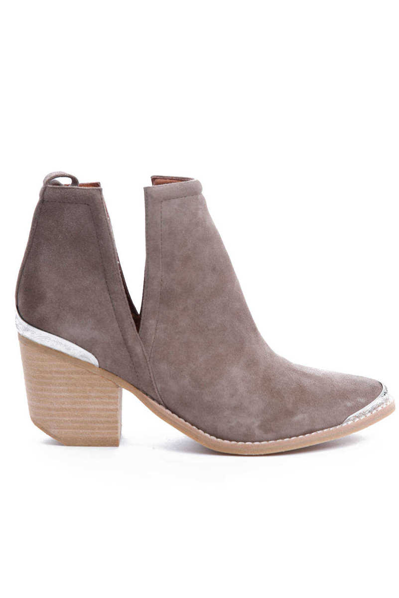 Jeffrey Campbell Cromwell Suede Western Cut Out Bootie Taupe 6.5 USA - GOOFASH