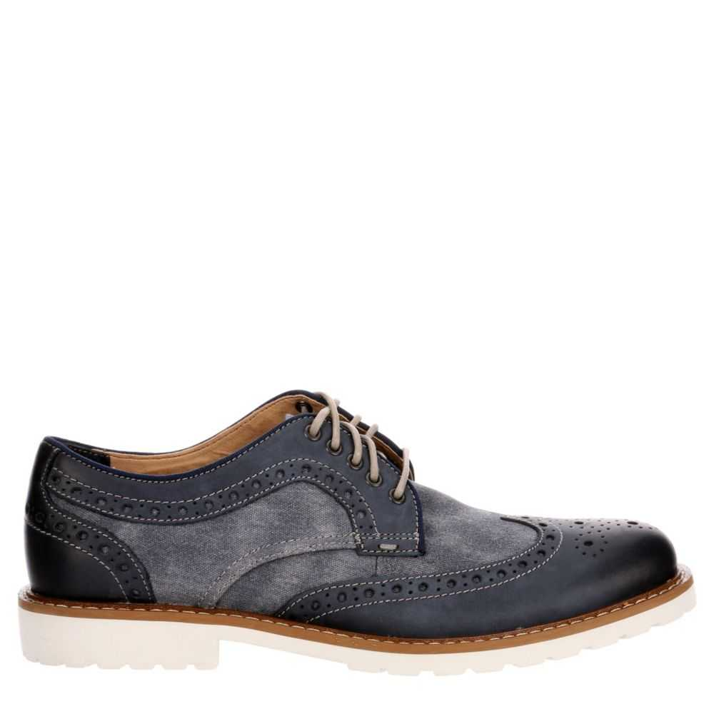 Lucky Brand Mens Mealey Wingtip Dress Casual Oxfords Navy USA - GOOFASH - Mens LEATHERS SHOES