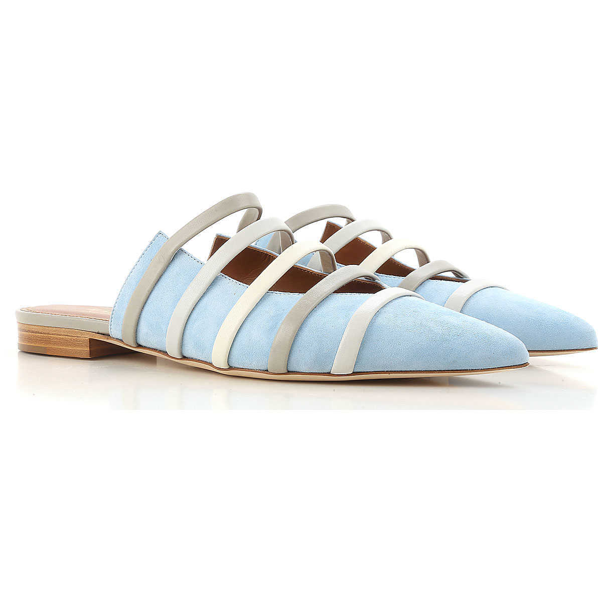 Malone Souliers Ballet Flats Ballerina Shoes for Women On Sale in Outlet Powder Blue - GOOFASH