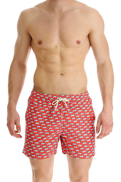 Mc2 Saint Barth Swim Shorts Trunks for Men On Sale Red - GOOFASH