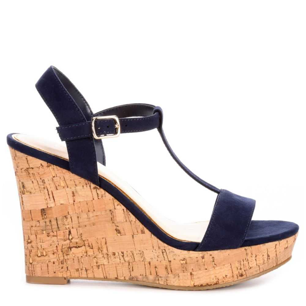 Michael By Shannon Womens Libby Wedge Sandal Navy USA - GOOFASH - Womens SANDALS