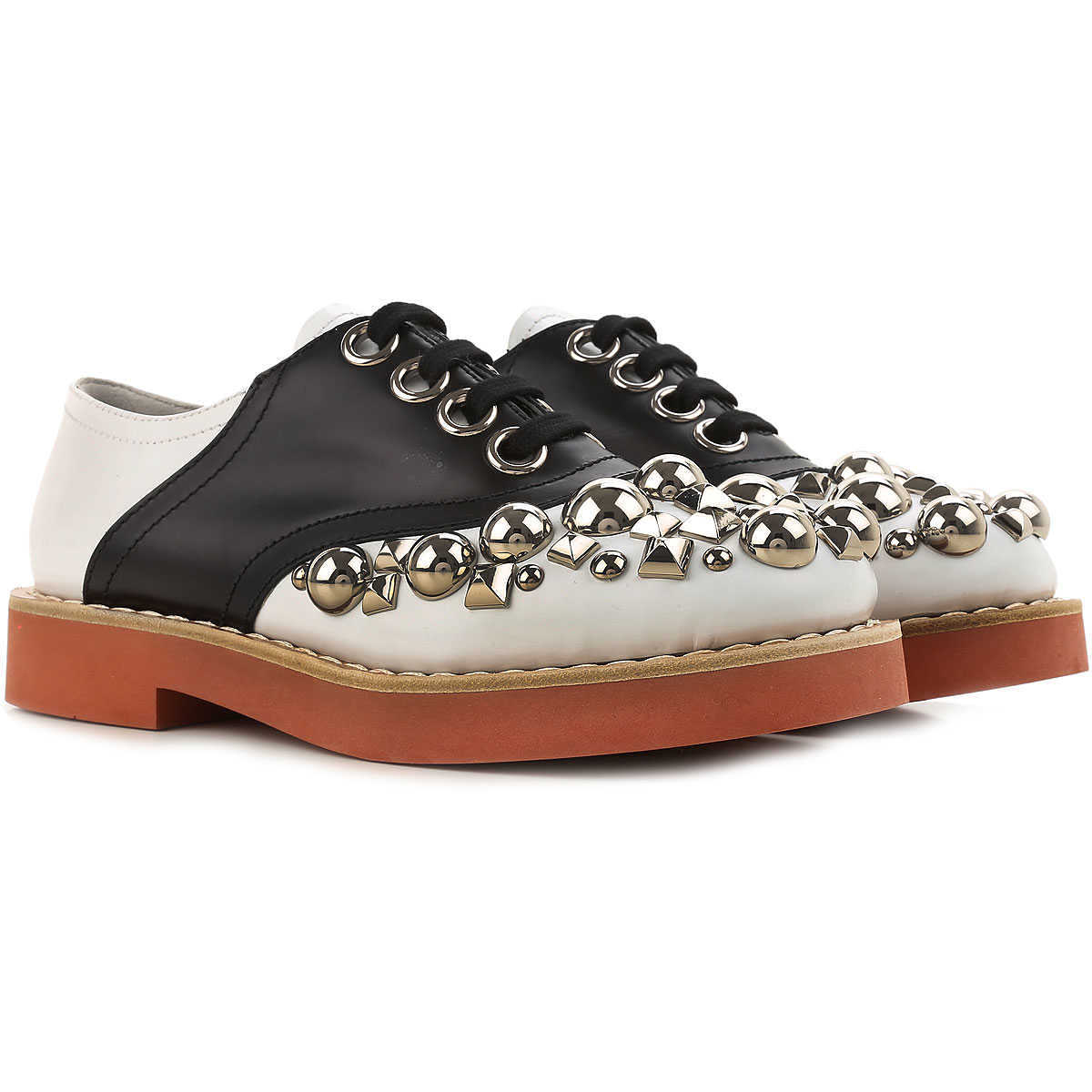 Miu Miu Brogues Oxford Shoes On Sale in Outlet White - GOOFASH