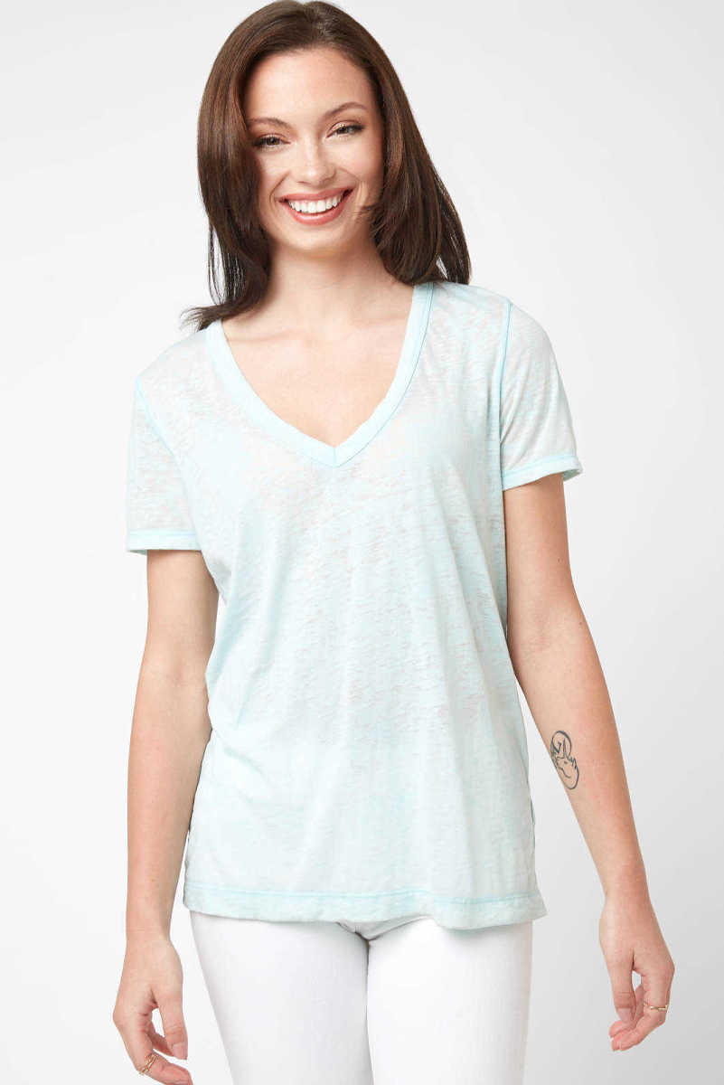 Neely Garment Dyed Burn Out Tee Blue XS USA - GOOFASH