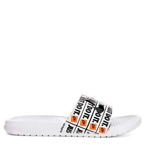 Nike Mens Benassi Print Slides Sandals White USA - GOOFASH - Mens SANDALS