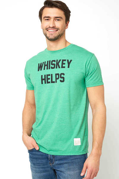 Original Retro Brand Whiskey Helps Graphic Tee Green L USA - GOOFASH
