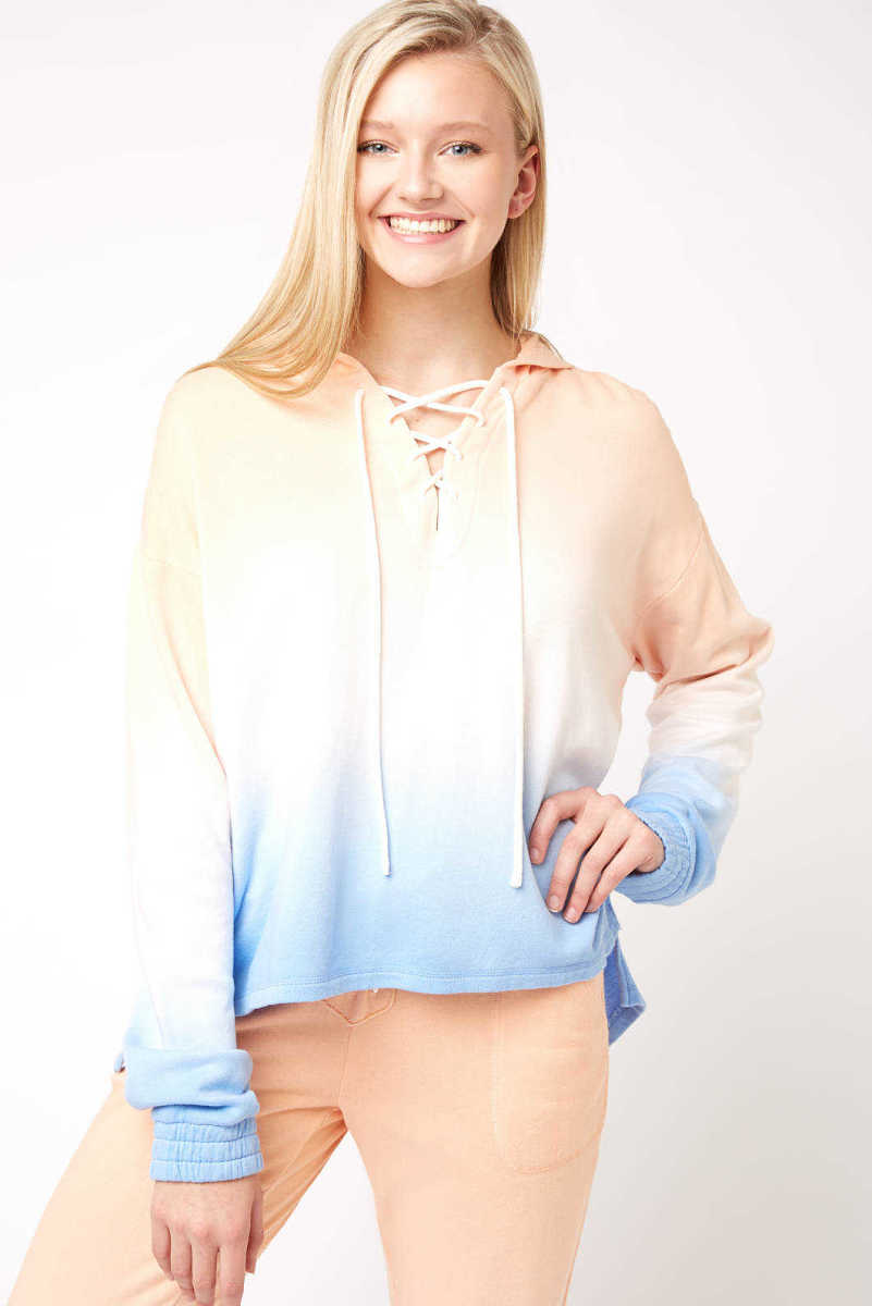 PJ Salvage Salty Days Lace Up Ombre Hoodie Multi S USA - GOOFASH