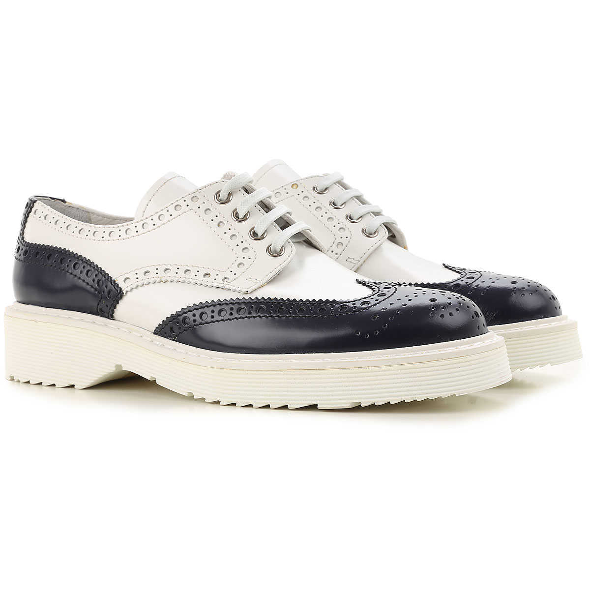Prada Brogues Oxford Shoes On Sale in Outlet Baltic Blue - GOOFASH