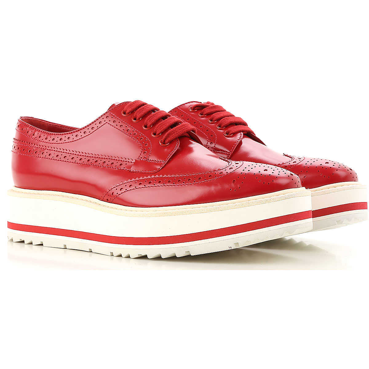 Prada Brogues Oxford Shoes On Sale in Outlet Red Scarlet - GOOFASH