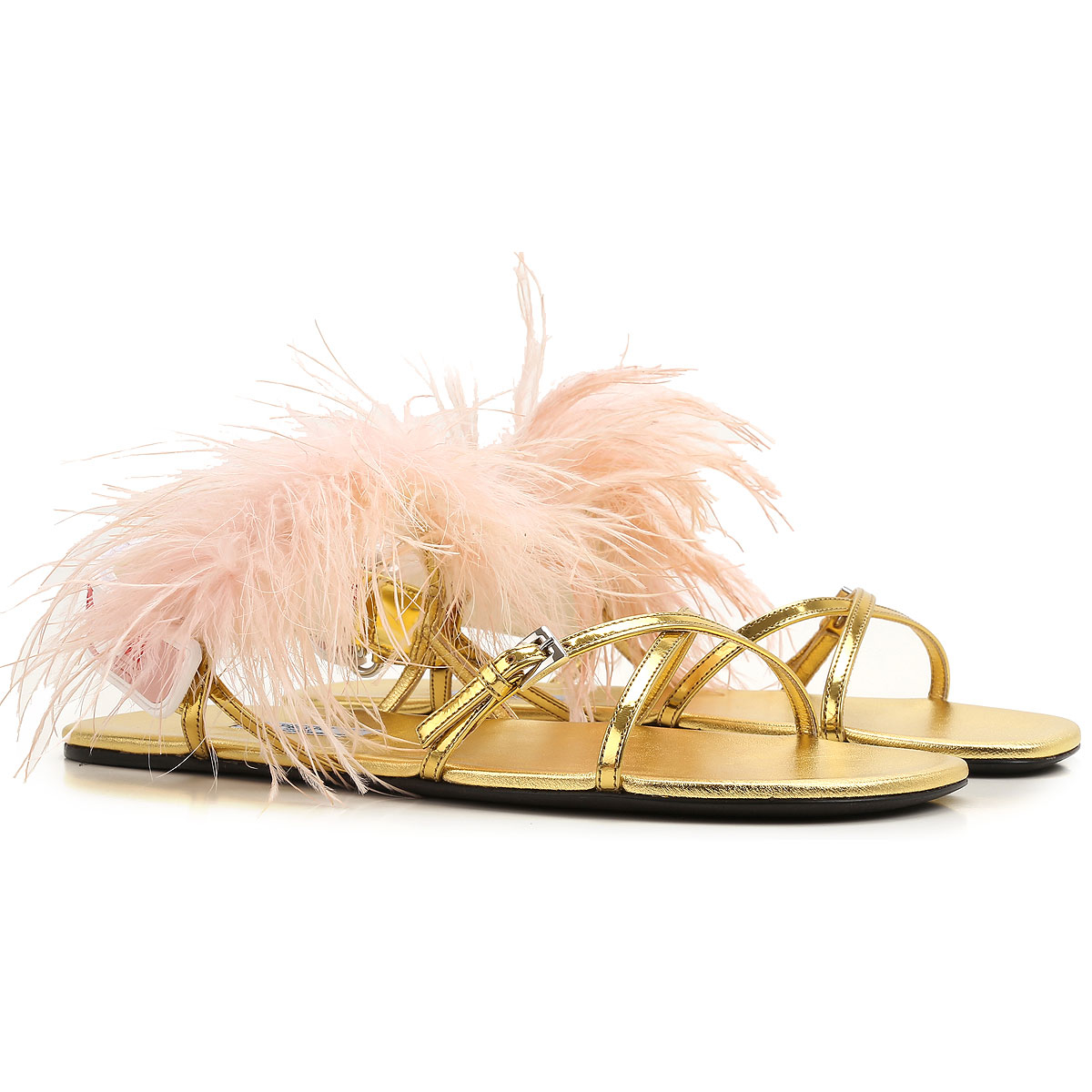 Prada Sandals for Women On Sale in Outlet Gold UK - GOOFASH