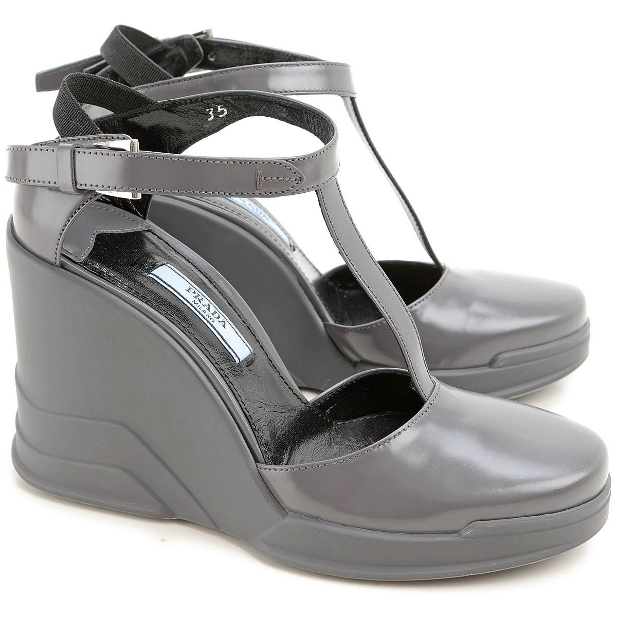 Prada Wedges for Women On Sale in Outlet Grey - GOOFASH