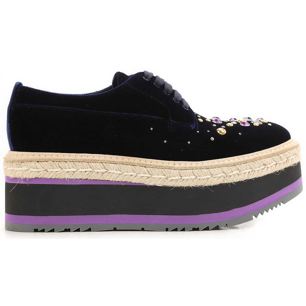 Prada Womens Shoes On Sale in Outlet Blue - GOOFASH