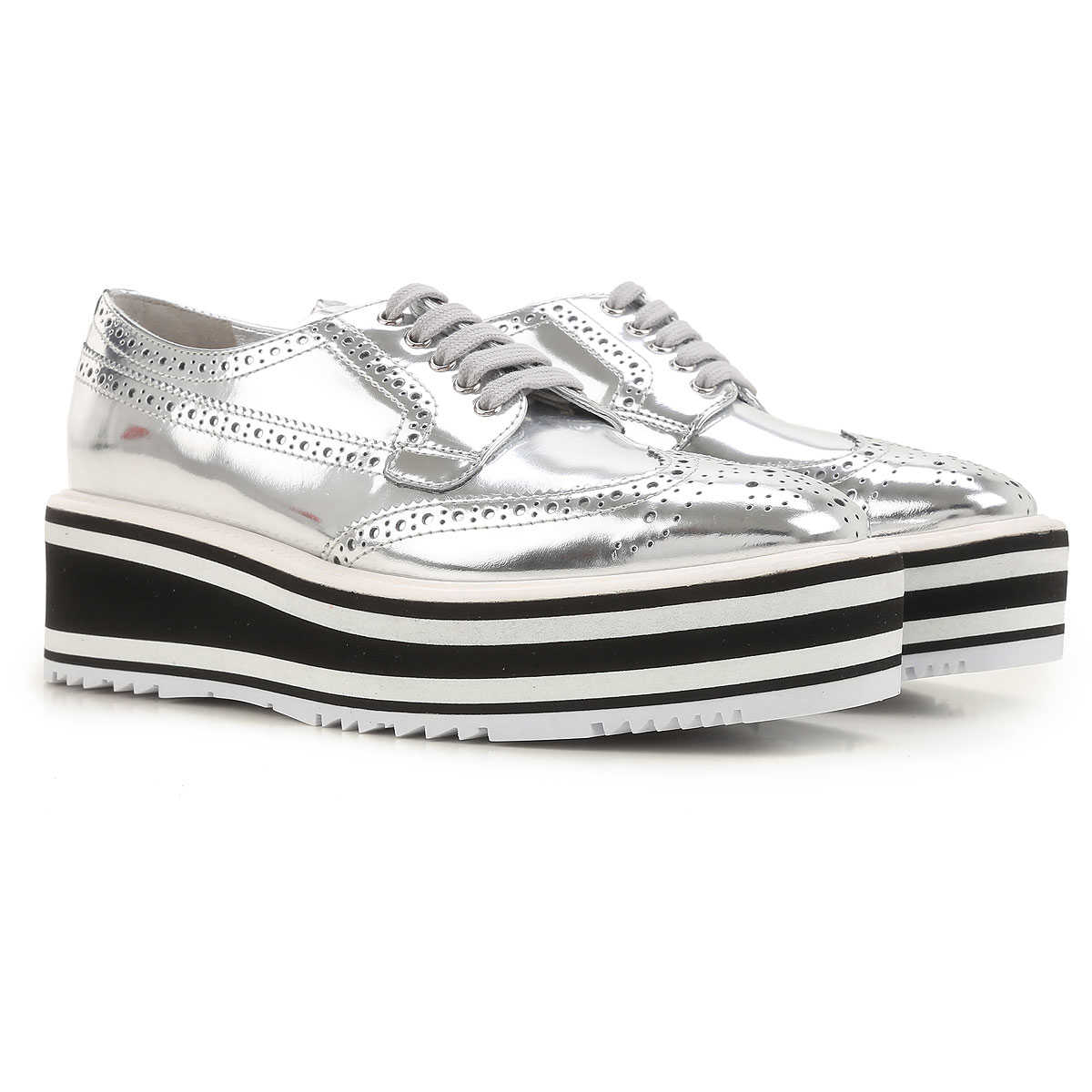 Prada Womens Shoes On Sale in Outlet Silver UK - GOOFASH