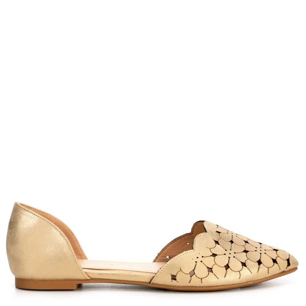 Restricted Womens Garden Flats Shoes Gold USA - GOOFASH - Womens FLAT SHOES